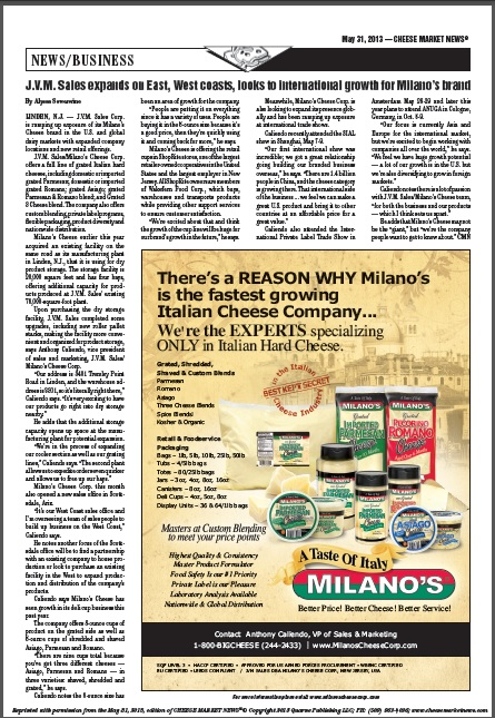 Cheese Market News looks to international growth, quotes Anthony Caliendo VP Sales and Marketing