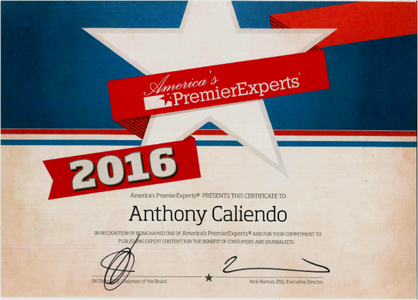Anthony Caliendo named a leading expert by America's PremierExperts