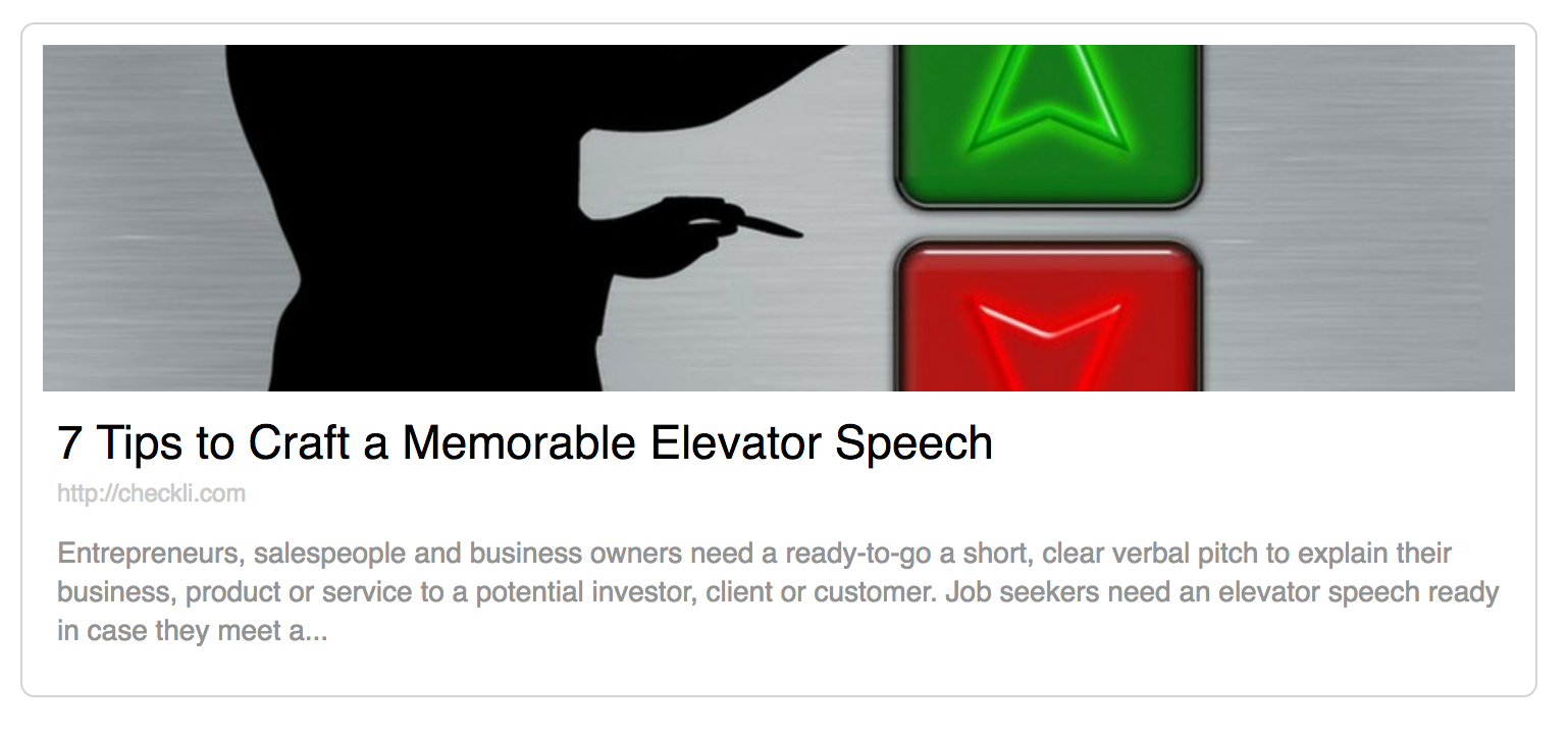 elevator speech on customer service Again, another elevator speech that doesn't deliver results the attractor: how to entice prospects the attractor's elevator speech is magnetic to the right listeners because it's focused on their needs, issues and concerns.